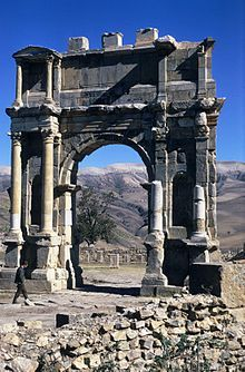 The Arch of Caracalla is a Roman triumphal arch from the beginning of the 3rd century, located at Djémila in Algeria. The arch, with a single span (fornix) was placed on the road leading to Sitifis and constituted the entrance to the city's Severan forum.