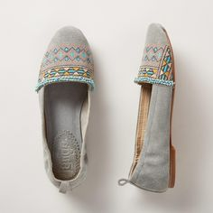 PHOEBE FLATS--Embroidered desert shades in softest suede with geometric stripes and a touch of beading. Imported. Whole and half sizes 6 to 10, 11. These are running 1/2 a size small.