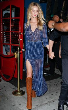 Spot On from Rosie Huntington-Whiteley's Street Style In a flowy polka dot dress, Rosie adds a southern belle style to her street style number.