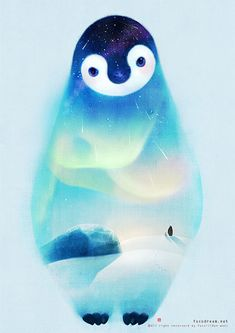 Night of the Antarctic on Illustration Served Penguin Drawing, Penguin Tattoo, Penguin Art, Penguin Love, Cute Penguins, Penguin Watercolor, Penguin Pictures, Illustrations And Posters, Cute Illustration