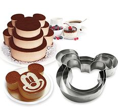 Tier Mickey Multilayer Anniversary Birthday Cake Baking Pans,Stainless Steel 3 Sizes Rings Mickey Molding Mousse Cake Rings(Mickey-shapes,Set of 3)