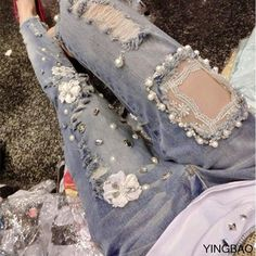 New high quality lace hole diamond beading embroidered denim skinny jeans personality jeans - diy clothes Recycling Ideen Denim And Lace, Lace Jeans, Denim Skinny Jeans, Denim Pants, Jeans Leggings, Diy Jeans, Men's Jeans, Embellished Jeans, Embroidered Jeans