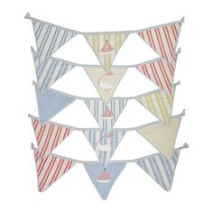 Birds & Boats True Blue Bunting l Susie Watson Designs Bunting Bird, Nautical Bunting, Blue Bunting, House By The Sea, House 2, Susie Watson, Linen Bedding, Blue Bird, Pink Blue