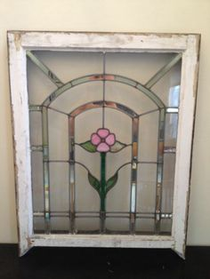Antique Leaded Stained Glass Window with Pink Flower from Chicago Bungalow | eBay