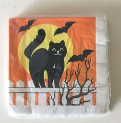 Party House Halloween Black Cat Paper Party Cocktail Napkins 16 Napkins 2 ply