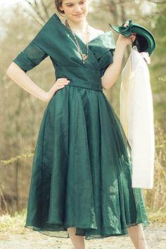 ヴィンテージドレス 80 エメラルドグリーンのフレンチスタイルドレス