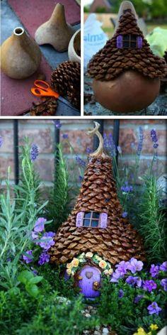 Pumpkin Fairy Houses Garden Ideas Video Tutorial - You Will Be This Gourd Fairy . Pumpkin Fairy House Garden Ideas Video Tutorial - You will love these Gourd Fairy Houses Garden Ideas and we have the be. Fairy Crafts, Garden Crafts, Diy Garden Decor, Garden Projects, Garden Art, Easy Garden, Balcony Decoration, Diy Decoration, Diy Projects