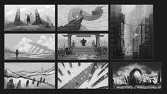 Composition & value thumbnails, Alejandro Monge on ArtStation at https://www.artstation.com/artwork/eQr9b