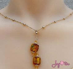 Golden Brown Lampwork Lariat,Square Lampwork Glass Necklace ,Ball Chain Knot Chain,Gold Christmas Necklace, Cross Necklace, Mom Gift #etsymnttgfher #etsymnttgfm #etsymnttw by JoyOterJewelry on Etsy