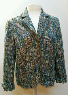 Coldwater Creek Womens Nubby Tweed Turquoise & Green Blazer Jacket Petite Medium #ColdwaterCreek #NubbyTweedBlazer