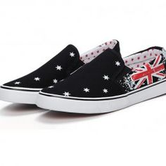 5a2d615fc1f Britain styles stars printed black canvas shoes for men slip on loafer shoes