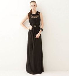 Black Hollow Out Round Neck Chiffon Maxi Dress