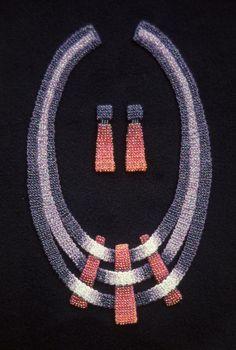 Elizabeth Tuttle, Lattice Collar and Earrings; Crocheted cotton sewing thread with glass beads. 1982 to 1990 #crochet #art #fineart #fiberart #fibreart #textile #textileart #domesticlife #domesticart #conceptualart #design #beadwork #beading #jewelery #wearableart Conceptual Art, Textile Art, Wearable Art, Fiber Art, Pattern Design, Jewelery, Glass Beads, Sewing, Crochet Art