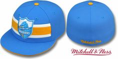 Chargers 'THROWBACK TIMEOUT' Blue Fitted Hats by Mitchell & Ness
