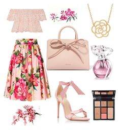 """Led fleurs Look"" by rea-godo on Polyvore featuring Dolce&Gabbana, Miguelina, Alexandre Birman, Mansur Gavriel, Charlotte Tilbury and Lord & Taylor"