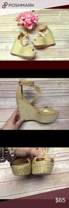 "Michael Kors platform sandals Patent leather, jute wrapped heel, platform sandals. Gold tone hardware, excellent used condition!  Only evidence of wear is on the soles. 1 1/2"" platform. 5"" heel. Michael Kors Shoes Platforms"