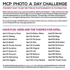 @Jodi Friedman | MCP Actions themes for the excellent #MCPphotoaday challenge in April. I've got the fever after doing it in the months of February & March, and the only prescription is more photo folks participating. Can I get a witness for my diva Miss Friedman?? (:o)