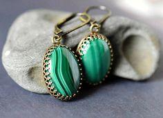 Malachite Earrings Emerald Drop Earrings Dark Green by MsBsDesigns
