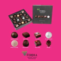 Chocolate Dark Chocolate 17 Assortment - The perfect gift for any occasion. Luxury Chocolate, Beautiful Gift Boxes, Truffles, Exotic, Dark, Gifts, Handmade, Favors, Craft