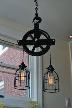 Industrial Pulley Light Barn Pulley Light by WestNinthVintage