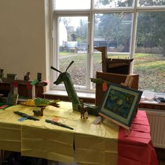 Ruth's wooden artworks, fun and funky! All this and cake too at Swaffham Prior today #priorartsgroup