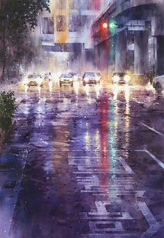 His light and water effects are astounding. by Lin Ching-Che ( watercolor )astounding art of the soul