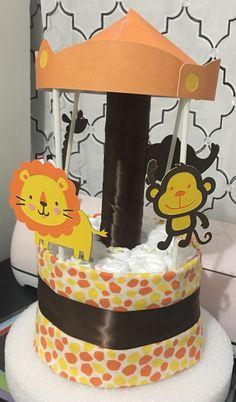 safari carousel mini diaper cake