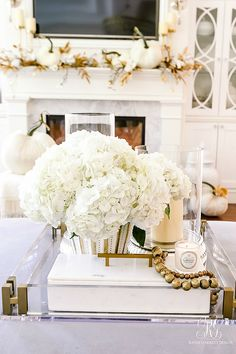 Golden Harvest Fall Home Tour - Randi Garrett Design Coffee Table Styling, Coffe Table, Golden Harvest, Living Room Styles, Gold Candles, Thanksgiving Decorations, Thanksgiving Games, Rustic Wall Decor, White Vases