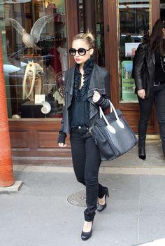 Nicole Richie, all black, different textures