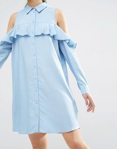 Bild 3 von ASOS Cold Shoulder Frill Sleeve Shirt Dress