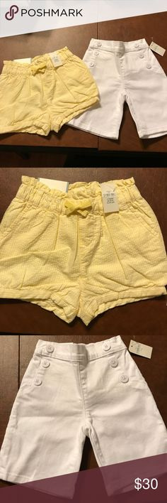 Gap bundle. BNWT toddler girl shorts 2 pairs of shorts from the gap. BNWT. The white pair are Bermuda style denim shorts with 2 back pockets and 6 buttons on the front (3 on each side). The other pair are yellow with white. Elastic waist. Both in perfect condition GAP Bottoms Shorts