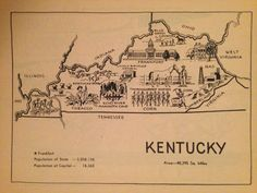 Retro Kentucky Map Page / Vintage Map Art / KY State Map Print / 1950s Coloring Book Page / Travel Wall Decor / Old Map Illustration by HildaLea on Etsy