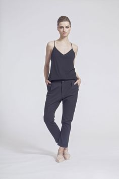 IMRECZEOVA SS16 black jersey top and pants Ss16, Overalls, Normcore, Pants, Black, Tops, Style, Fashion, Catsuit