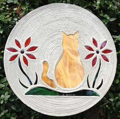 Stained Glass Stepping Stone  Orange Tabby by Stainedglasstile, $39.95