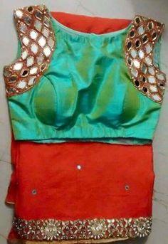 Stylish and Designer Blouse Back Neck Designs 2018 - ArtsyCraftsyDad Blouse Back Neck Designs, Sari Blouse Designs, Saree Blouse Patterns, Blouse Styles, Blouse Neck, Mirror Work Blouse, Fancy Sarees, Beautiful Blouses, Indian Designer Wear