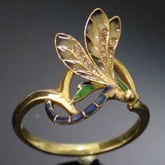 Dragonfly gold enamel Art Nouveau ring by Lorrie Thomas