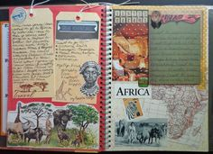 safari smash book page....a good idea for lexi lou lou? What I love: no actual photographs and still a kick-ass page