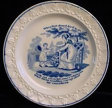 """EARLY CHILDS TRANSFERWARE   MY CHILDHOOD  John Rogers Potteries ~ Longport, Staffordshire, England c 1820  Plate measures 5 3/4 """". Transfer printed in cobalt blue.Rim impressed leaves.  This plate is quite scarce.""""My Childhood"""", written by English writer Jane Taylor (1783-1824). Originally published in copperplate engravings from child's primer shows a little girl running to her mother. """"When first along I dared to go, with outstretched arms & tottering toe...""""John Rogers is an esteemed…"""