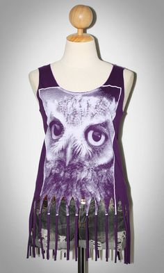 Owl Face Animal Rock Indie Punk Women T-shirt Tank Top Purple Fringe Sleeveless Size S-M