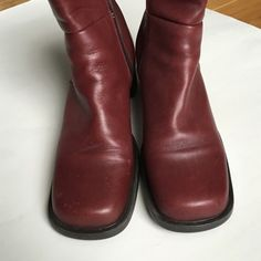 """BURGUNDY SQ TOE ANKLE BOOTS COMFORT!! Inside zipper for easy on and off. The height comes just above the ankle. Waterproof. Inside has a soft black lining. 2.5"""" chunk heel. Pic 3 shows scuffs on heels. These would be a great shopping boot with jeans. ⚫️NO TRADE. NO PAYPAL⚫️ Blondo  Shoes Ankle Boots & Booties"""