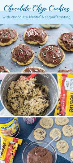 These Soft and chewy Chocolate Chip Cookies with chocolate frosting are easy and perfect to make with kids. Just imagine your favorite chocolate chip cookies topped with a sweet chocolate frosting and decorated with seasonal sprinkles. Christmas Desserts, Christmas Baking, Easy Desserts, Delicious Desserts, Yummy Food, Chewy Chocolate Chip Cookies, Chocolate Frosting, Chocolate Morsels, Chocolate Powder