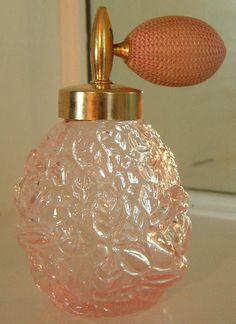 Beautiful Vintage Pink Glass Atomizer Perfume Bottle