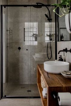 75 Cool Farmhouse Bathroom Remodel Decor Ideas, walk in tile shower and rustic bathroom vanity with vessel sink, rustic bathroom design, neutral master bathroom Rustic Bathroom Designs, Design Bathroom, Bathroom Inspo, Bathroom Colors, Bathroom Layout, Bathroom Updates, Restroom Design, Bathtub Designs, Restroom Ideas