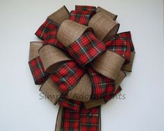 Country Christmas Bow Cottage Red Green tartan Christmas tree topper bow by SimplyAdornmentsss Country Christmas Trees, Burlap Christmas Tree, Christmas Bows, Christmas Tree Toppers, Tartan Christmas, Green Christmas, Christmas Gift Wrapping, Christmas Tree Decorations, Christmas 2017