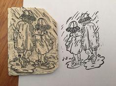 Bajo la lluvia #carvado #carvadodesellos #stamp #stampbooking #manualidad #rubber #rubberstamp