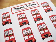 London Bus themed wedding table plan