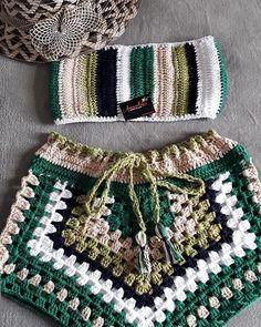 Shorts Crochet, Crochet Bikini Top, Crochet Clothes, Diy Clothes, Crochet Flowers, Crochet Lace, Crochet Designs, Crochet Patterns, Beach Crochet
