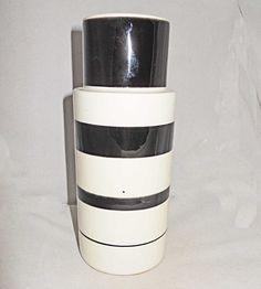 "Vintage Raymor Black White Ring Vase Italy M1408 6"" Mid Century Modern Pottery | eBay"