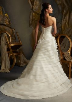 Bridal Dress From Blu By Mori Lee Dress Style 5105 Asymmetrically Tiered Organza