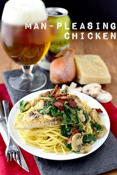 Man-Pleasing Chicken is one of my husband's favorite chicken recipes. Goes from fridge to fork in 30 minutes! @Iowa Girl Eats| iowagirleats.com